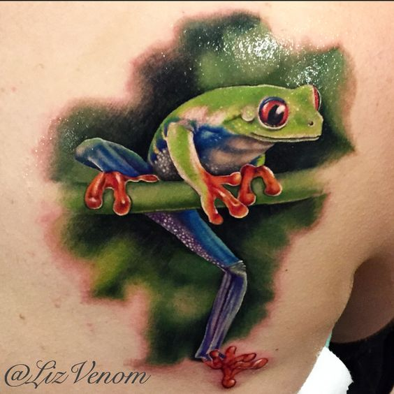 A beautiful realistic tree frog tattoo by Liz Venom from Bombshell tattoo in Edmonton Canada.   Bombshell tattoo Galerie is proud to be edmontons finest tattoo parlour.   bombshell tattoo has a large crew of award winning artists available for amazing custom tattoos, and walk-in availabilities from Wednesday to Sunday every single week.   Alberta, Canada, best, ink, inked, tattoos, realistic, realism, amazing, superb, 3d, wildlife, girls, inked, idea, best, animal, color, design, perfect…