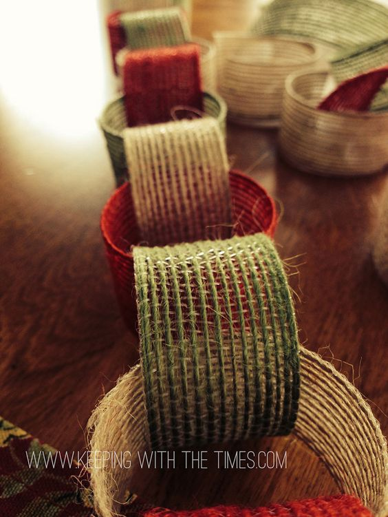 Create a fun garland from burlap ribbon found at world for Decorating with burlap ribbon for christmas