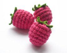 Crochet Raspberry (1pc) - Play Food - Teething Toy