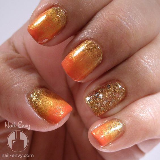 Diy Autumn Gradient Nail Art: Glittery Fall Gradient - Nail Envy