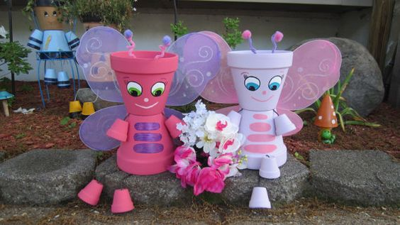 10 Planter Pot Person People BUTTERFLY Free by GARDENFRIENDSNJ