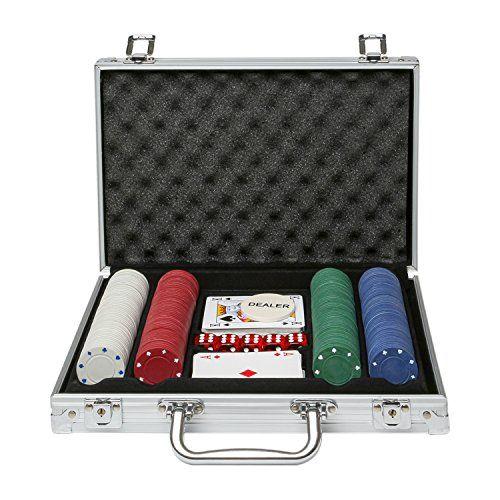 Coffret jeu de poker avec 2x jeu de cartes tapis et 200 jetons