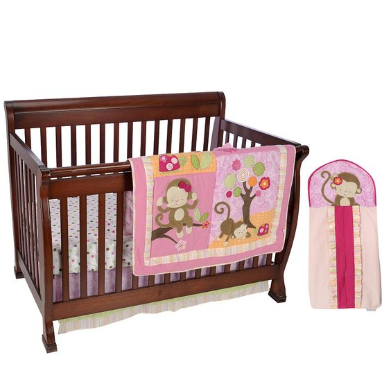 Kids Line Miss Monkey 4 Piece Crib Bedding Set Kids Line