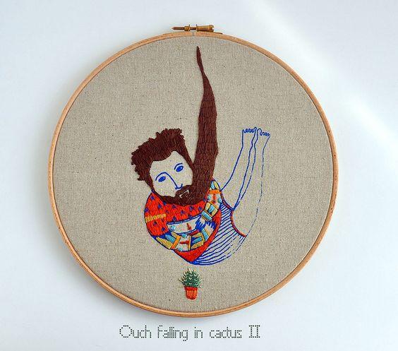 Bearded man by Ana Raimundo. Embroidery & screen print.