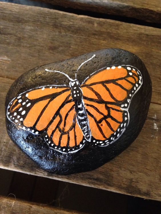Painted Rock Monarch Butterfly PAPERWEIGHT Painted Rock ...