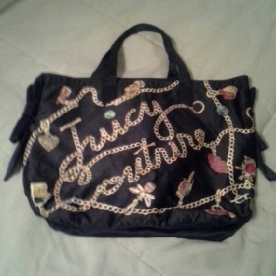 PRICE FIRM! Navy Juicy Couture Tote Magnetic clasp. Minor wear on handles. Stains on interior (see third pic). Good condition.  NO TRADE. «««FINAL PRICE»»» Juicy Couture Bags Totes
