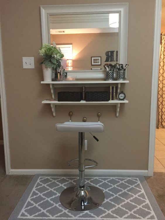 diy make up vanity for cheap mirror from tj max and wood shelves from hobby lobby diy. Black Bedroom Furniture Sets. Home Design Ideas