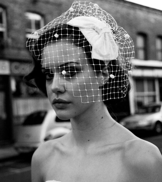 1950s Bow Headpiece and detachable birdcage veil with by AgnesHart