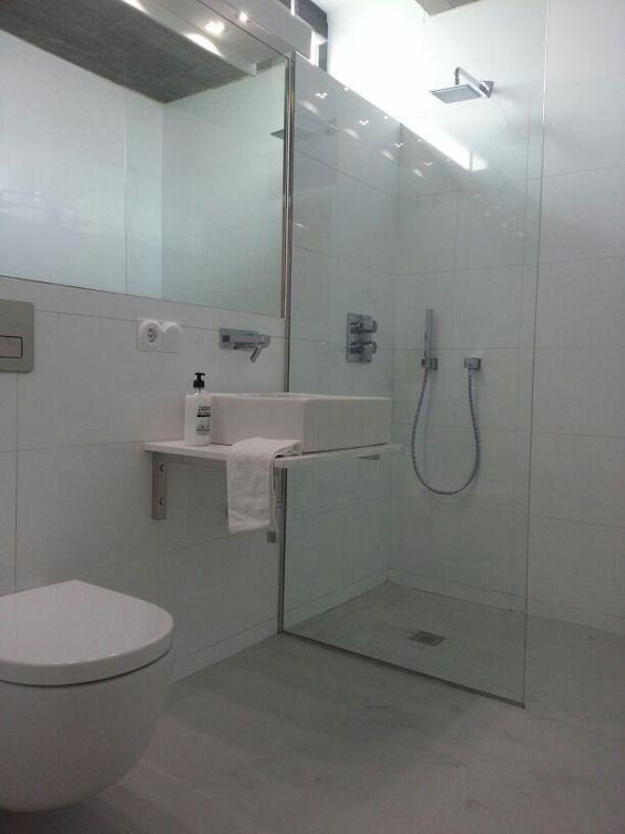 Baños De Microcemento:Suelo del baño y plato de ducha Pavimento continuo microcemento