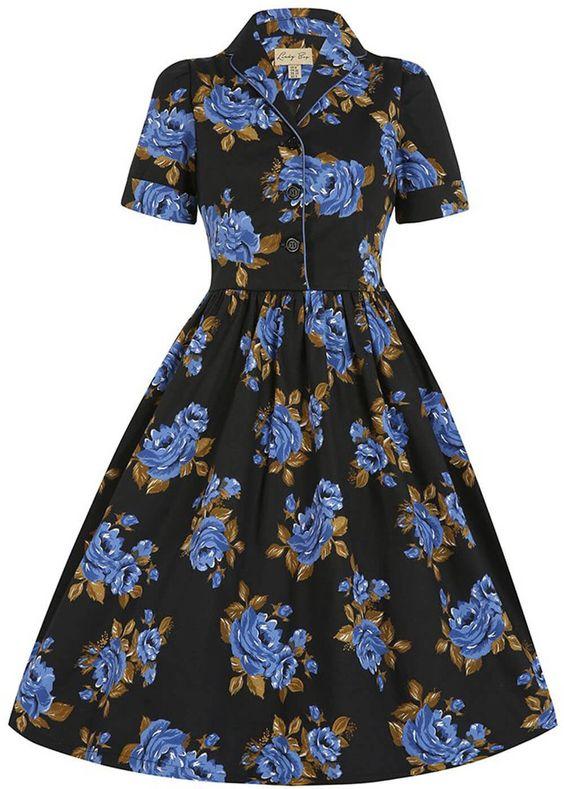 Lindy Bop Dorothy Navy Roses Swing Jurk Zwart