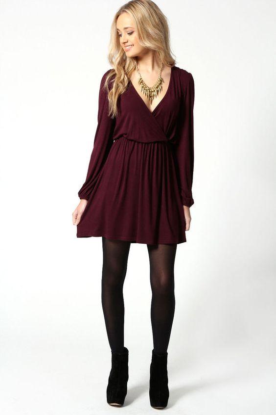 Adriana Jersey Long Sleeve Wrap Dress