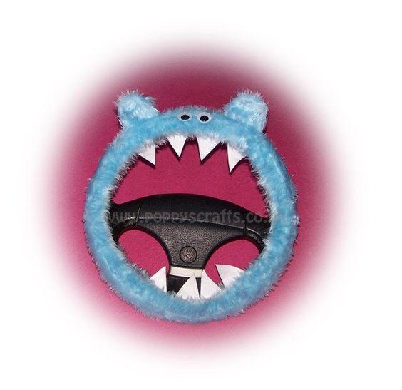 cute Fuzzy faux fur Baby Blue monster car steering wheel cover fluffy furry fun
