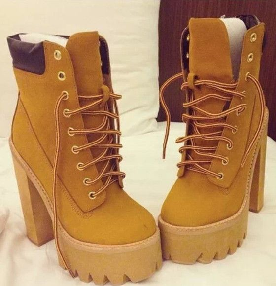 shoes timberlands brown rihanna boots wedges high heels | • Shoes ...