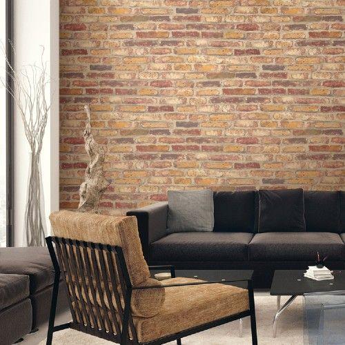 Faux Rustic Brick Peel And Stick Wallpaper Lelands Wallpaper Red Brick Wallpaper Brick Feature Wall Brick Living Room