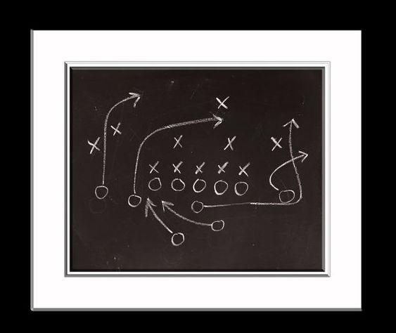 Chalkboard Football Play Photo Print, Boys Room decor, Boys Nursery Ideas, Vintage Sports, Football prints,