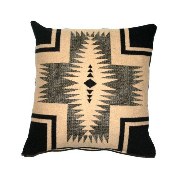 Southwestern Wool Pillow Covers : Pendleton Pillow, Wool Throw Pillow, Cushion Cover, Navajo, Southwestern Design, Black Beige ...