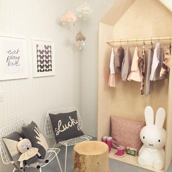 Showroom Luksusbaby.dk Scandinavian kids room decor webshop / Miffy lamp, Lucky Boy Sunday pillows and doll, house-shaped kids closet