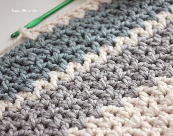 Crochet Stitches Chunky : Repeat Crafter Me: Quick and Easy Chunky Crochet V-Stitch Afghan ...