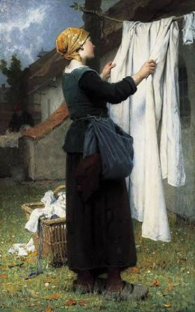 Désiré François Laugée (French,1823–1896) Le linge de la ferme (The farm household linen: