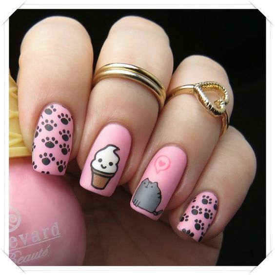 Nail Art Donuts Uñas Decoradas Con Gatos Uñas Kawaii Y