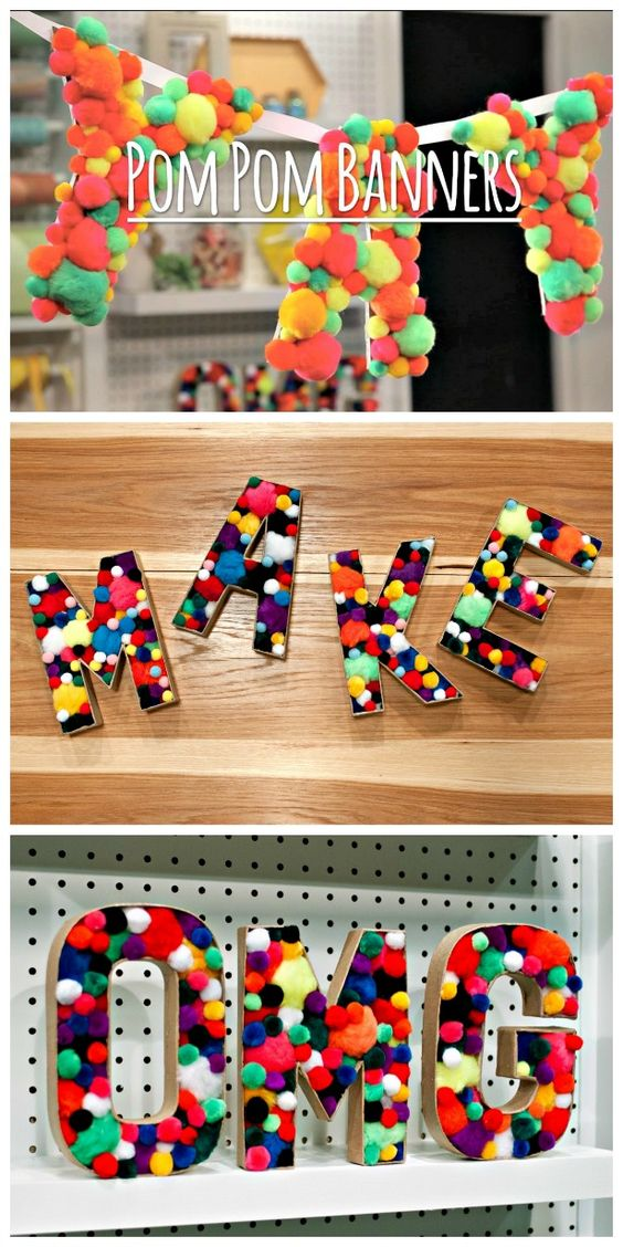 HGTV Crafternoon: Easy Pom-Pom Banner and Decorative Letters (http://blog.hgtv.com/design/2014/03/11/easy-pom-pom-banner-and-decorative-letters/?soc=pinterest)