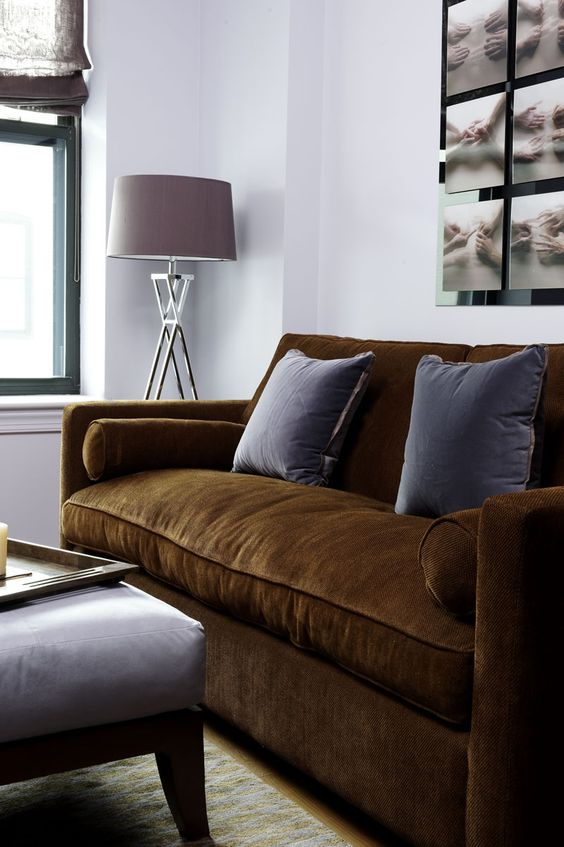 Seating Area with Brown couch and complementary pillows.