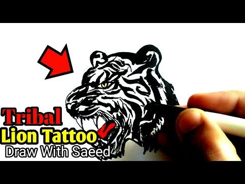 How To Draw Lion Tattoos Head Of Lion On Paper Easy Step By Step On Hand Little Singham Tattoo Youtube Lion Tattoo Tribal Lion Tattoo Lion Head Tattoos