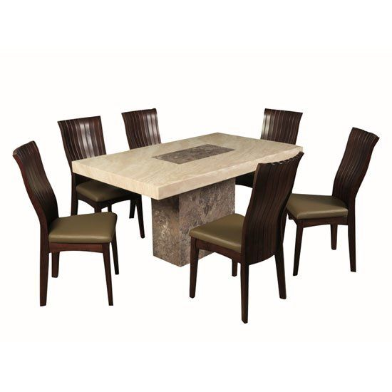 Encore Marble Dining Table In Dark Brown Cream With 6 Chairs Dining Table Marble Dining Table Marble Dining