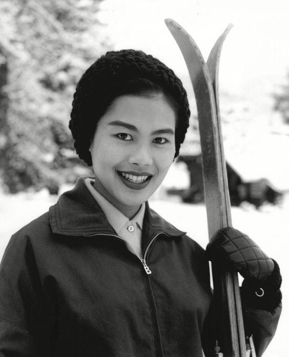Queen Sirikit skiing in Gstaad, Switzerland, in 1960.