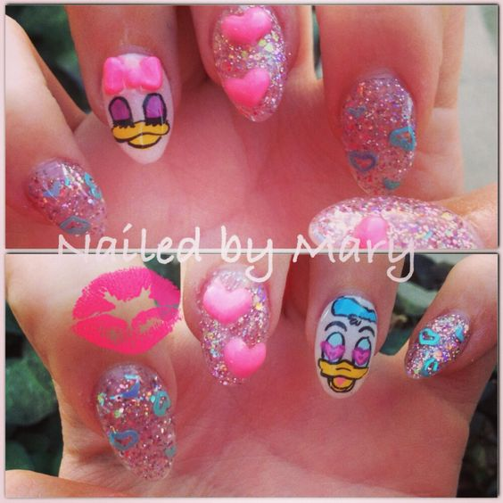 Disney Donald Duck and Daisy Duck nails.