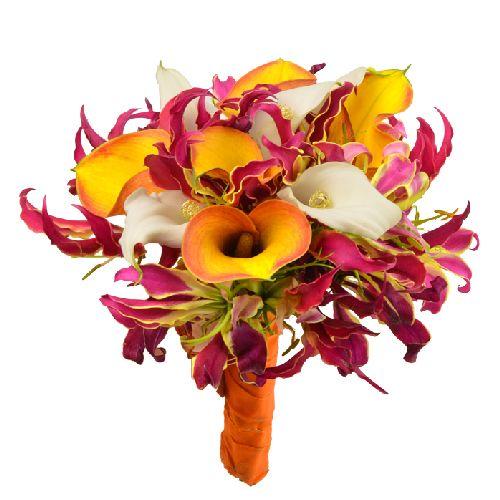 umlilo bouquet mari e un bouquet de mari e aux fleurs exotiques callas et gloriosas pour un. Black Bedroom Furniture Sets. Home Design Ideas