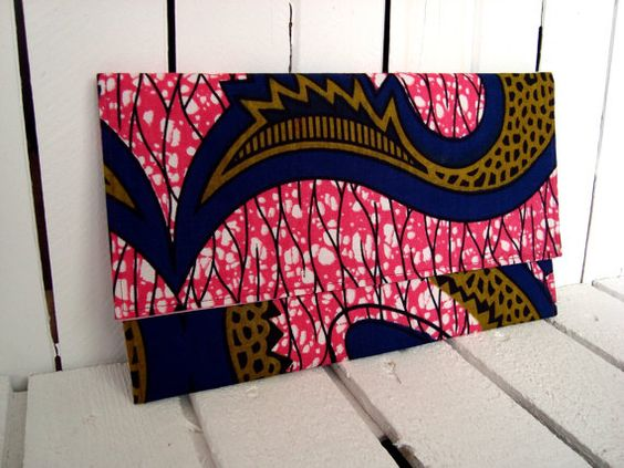 African wax print clutch Pink by ChilliPeppa on Etsy, £18.00