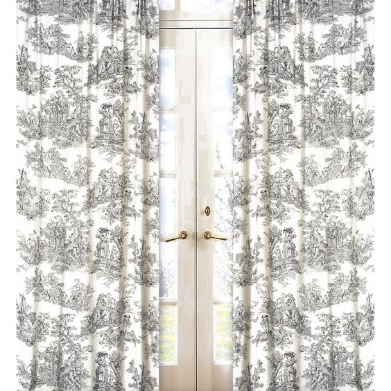 Sweet Jojo Designs Black and Cream 84-inch Window Treatment ...