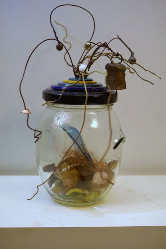 super tiny WoodLand pixie FAIRY in jar 74 ooak por DinkyDarlings