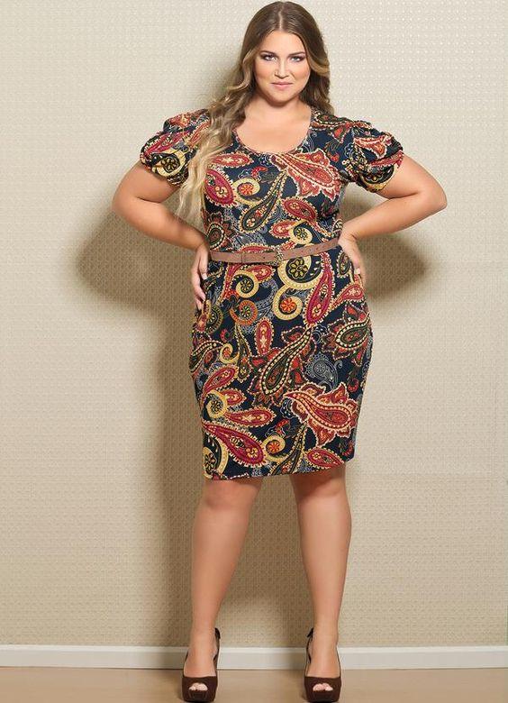 Vestido Estampa de Lenço Plus Size - Posthaus