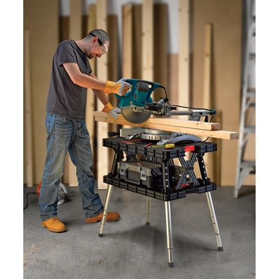Keter Folding Work Table — 700-Lb. Capacity with Extendable Legs