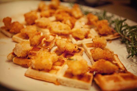 Chicken and waffles. Yes! Photo by Krystal Mann #cedarwoodweddings