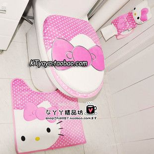 High Quality!Hello Kitty Bath Mat Rug Toilet Seats Lid Cover + Tissue Box