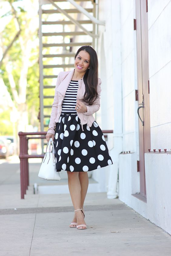 StylishPetite.com | Stripes, polka dots and blush faux leather jacket
