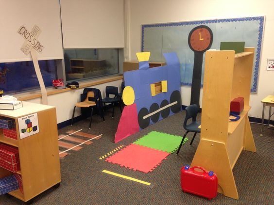 Classroom Enhancement Ideas ~ Kindergarten dramatic play train station my classroom