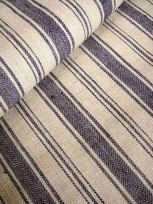 Possible chair fabric ...SAMPLE French Belgian Linen ticking fabric Libeco Antibes Navy Stripe | eBay