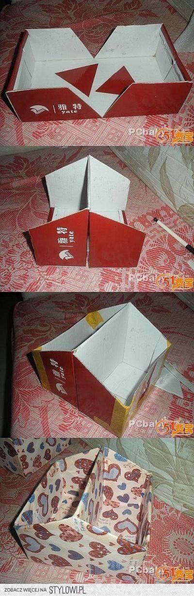 pour fabriquer une boite de scrap à partir d'une boite à chaussure !! prévoir une poIgnée dans le milieu en faisant une découpe by candace