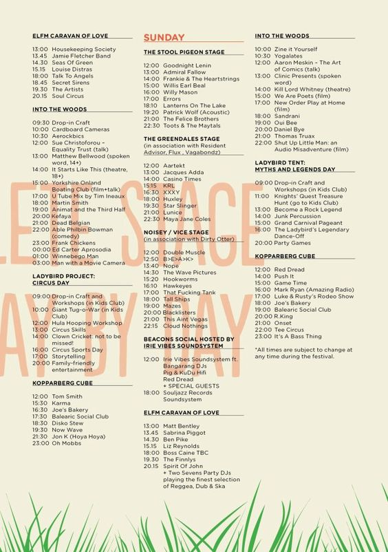 /// Beacons Festival stage times... Here's Sunday + the latter part of Saturday