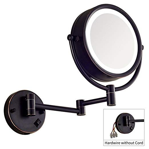 Dowry Makeup Mirror Wall Mount Lighted With 10x Magnification Direct Wire 8inch Cordless Not Batteries Operated Oil Rubbed Bronze Review Wall Mounted Makeup Mirror Wall Mounted Light Makeup Mirror