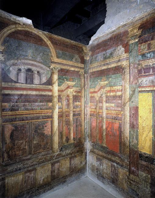 Pomp i villa des myst res cubiculum chambre coucher for Decoration maison romaine