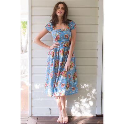 Laura dress in Blue Lagoon - Lazybones