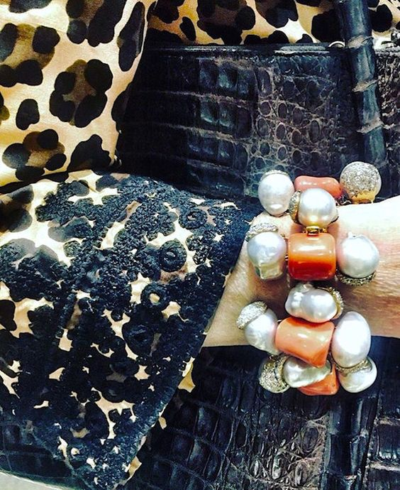 Tony Duquette coral and pearl bracelet: