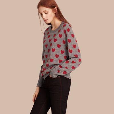 Burberry Suéter de lã Merino com estampa de corações Mid Grey Melange