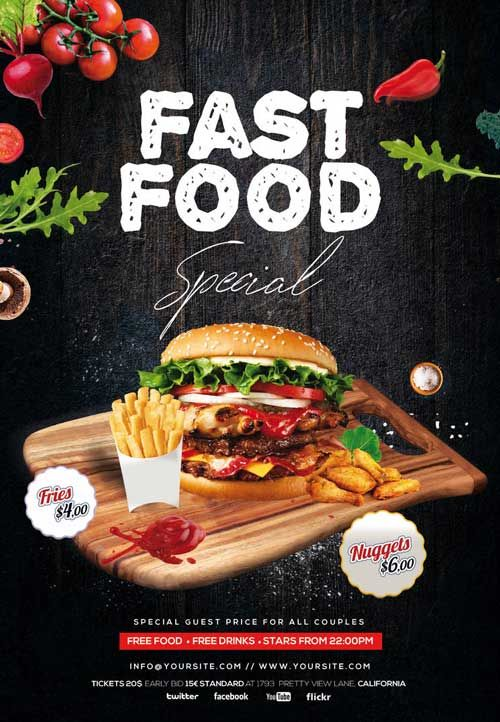 Fast Food Burger Special Free Flyer Template Fast Food Specials Food Food Menu Design