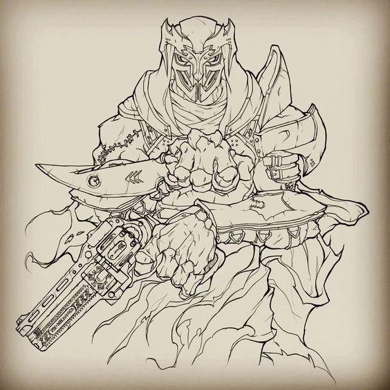 Linework for a Destiny Hunter piece.